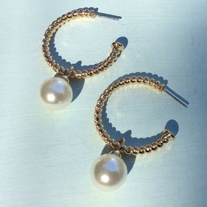 Anthropologie Gold Tone Pearl Earrings NEW